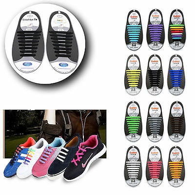 No Tie Elastic Silicone System Lock Shoe Laces Shoelaces Runner Kids Adults New