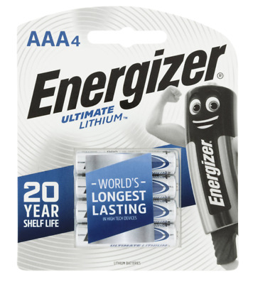 Energizer AAA Ultimate Lithium 4 pack 20 year shelf life 100% Leak Proof