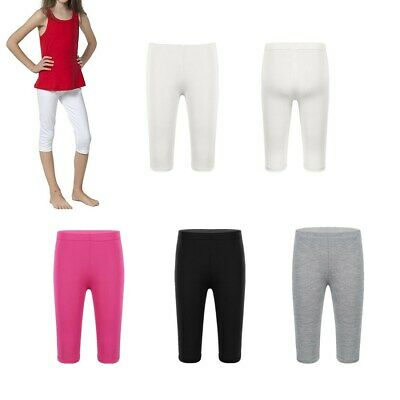 Child Girls Summer Casual Modal Capris Leggings Kid Solid Color Cropped Trousers