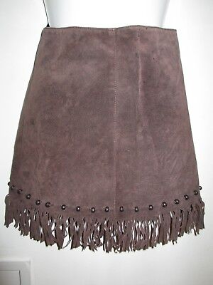 Vintage (90's?) Tammy/ Tammy Girl Suede- Leather Fringed Mini Skirt 164cm / Teen