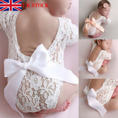 UK Newborn lace photo clothing bow hair band set two-piece photography props New