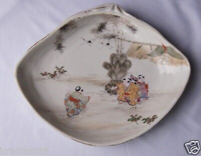 Unusual Antique Japanese Kutani Shell Porcelain Bowl