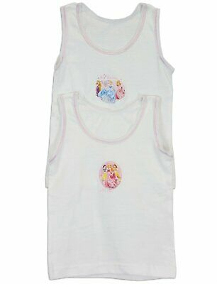 Disney Girl's Pack of 2  100% Cotton Underwear Princess Vests