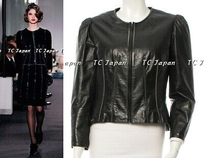 CHANEL 06PF 2006 Black Leather Silver Tone Chain Link Jacket F42
