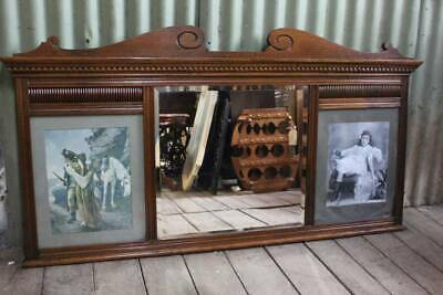 An Antique Over Mantle Mirror with Photo Frames