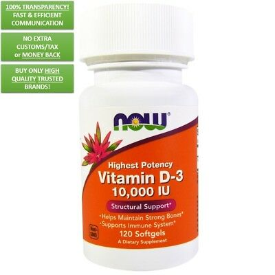 Now Foods: Vitamina D3, 400, 1000, 2000, 5000, 10000 UI, 30-360 Cápsulas