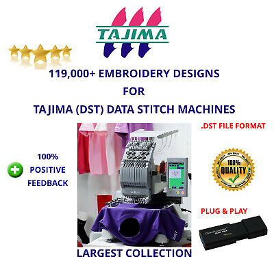 119,000+ Tajima Dst Sewing Machine Embroidery Designs Collection On 16Gb Usb