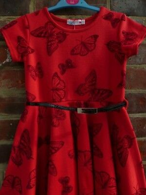 NEW RED Glitter BUTTERFLY M&Co Dress 8-9yrs BNWT NEXT CHRISTMAS PARTY Occasion