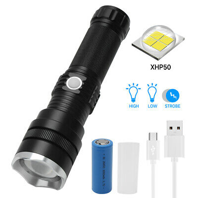 20w Rechargeable XHP50 LED Flashlight Zoomable Fishing Torch 26650 Battery Kit