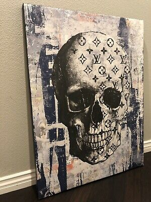 Original CRISP Louis Vuitton Skull Hype 42x32 Canvas Street Pop art Kaws Banksy