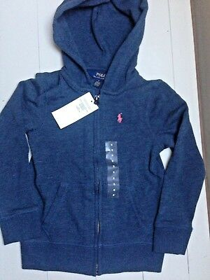 Girls Ralph Lauren Polo Hoody Age 5 Blue Pink New With Tag BNWT Full Zip Pockets