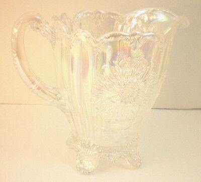 Vintage Clear Glass Iridescent Pitcher Dahlia Pattern beautiful white opalescent