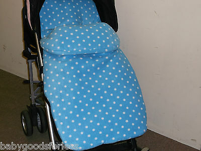 Universal Footmuff/Cosytoes All Fleece Blue Small White Polka Dots Free P&P