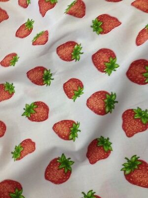 Strawberry Fabric Material Summer Crafting 100/% Cotton Decor FQ Metre crafting