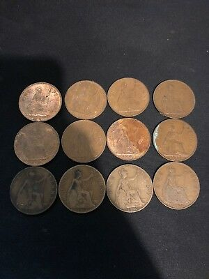 25 Old One Penny Coins / 13 Old Half Penny Coins From Various Dates