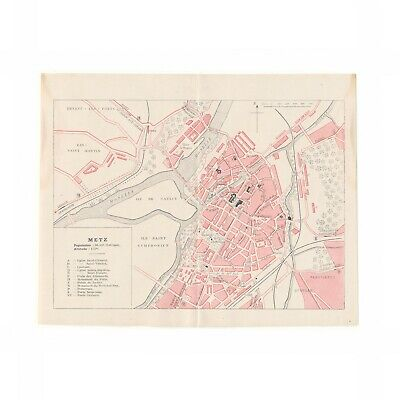 Antique map of Metz, France from 1918 guide to WWI battlefields