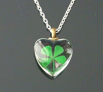 """Lucky 4 Leaf Clover Inside Glass Heart Pendant Charm Silver Necklace 16"""" 18"""""""