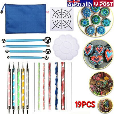 19pcs Acrylic Mandala Dotting Pen Ceramic Indentation Dot Painting Set DIY Tools