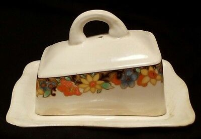 Vintage IVORY ENGLAND Floral Covered Butter Dish / Cheese Plate