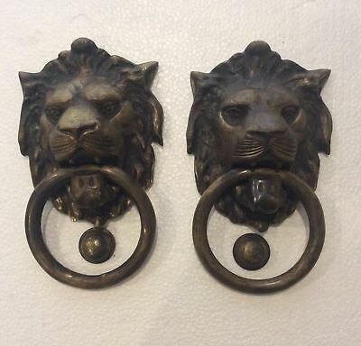 beautiful pair of bronze  knocker, old Lion, large, solid colonial Peru