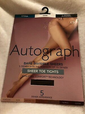 NWTG Marks/&Spencer Autograph 5 Denier Bare Invisible comfort fit Sheer toe Tight