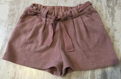 Girls Next Pink Woven Wool Blend Shorts With Tie Belt Age 13 Yrs 158cm