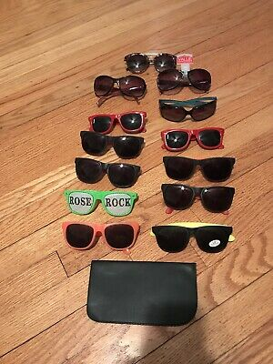 Lot Of 13 pairs of colorful aviator sunglasses black Yellow Green Pink Case