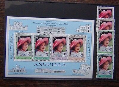 Anguilla 1980 Queen Mother set & Miniature sheet MNH