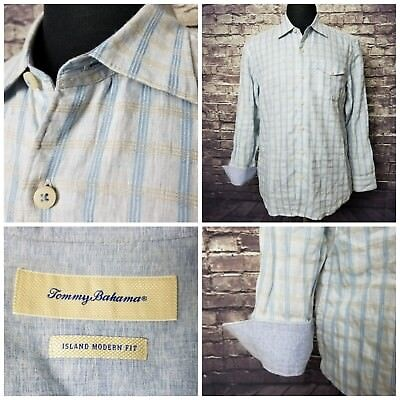 Exc Cond Tommy Bahama Island Modern Fit Men's M Linen Blend Long Sleeve Shirt