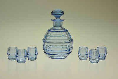 Awesome Art Deco Czech Bohemian Blue Glass Decanter Set 6 Shot Glasses