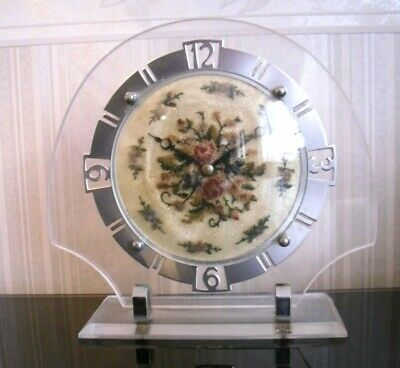 Vintage 1950s Smiths Clock Co:Embroidery Wind-up Mantel/Bedroom Clock,Restored.