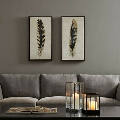 """Luxury 2pc Yellow & Gold Gilded Feathers Framed Canvas Wall Art - 16x31"""" Each"""