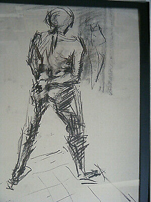 Figure life drawing nude, expressive charcoal / paper, man standing, < A1 size @