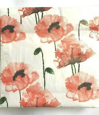 4 x Single Paper Napkins Poppies Embroidery Border Decoupage and Crafting 110