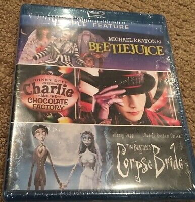 Blu Ray Triple Feat.(Beetlejuice/Charlie and the Chocolate Factory/Corpse Bride)