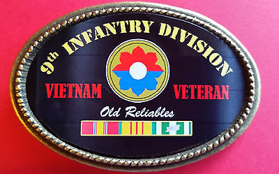 """Vietnam Veteran 9th INFANTRY DIVISION """"Old Reliables""""  Epoxy Belt Buckle - NEW"""