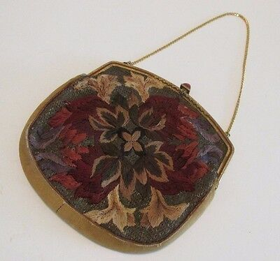Antique Crewel Tapestry Embroidered Purse Jeweled Clasp Embossed Frame