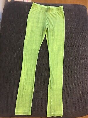 Funky Legs Neon Green Two Tone Stretch Leggings Age 8-9 Years VGC