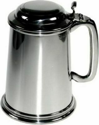 Pewter  Lidded 1 Pint Tankard