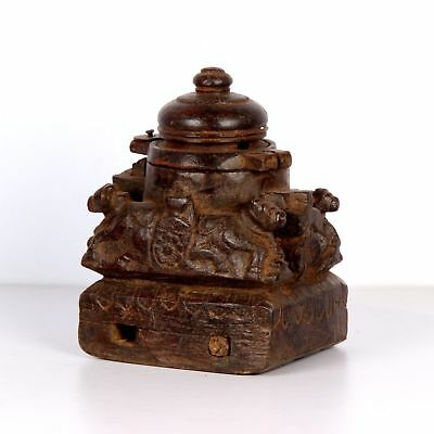 Antique Tribal Wooden Carved 4 Ox Sited Temple Worshiped Vermilion box/Teeka Box