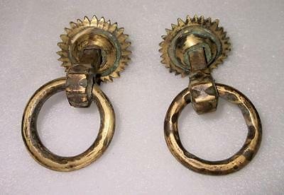 Antique Royal Old Hand Carved Brass Pair of Sun Shape Door Handle/Pulls