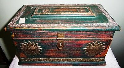 Antique Ash-wood made Handcrafted Box, Brass Carving Work Treasure Box Collect