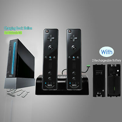 For Nintendo WII Remote Controller Charger Charging Dock Station +2 Batteries