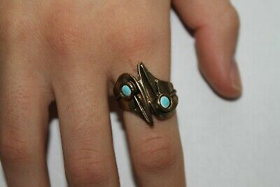 Woman Vintage Fashion Turquoise Color Stone Ring Brass Band Jewelry Women