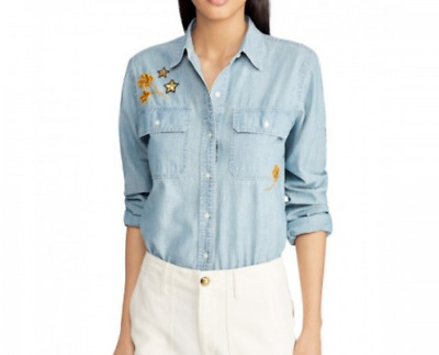 Lauren Ralph Lauren Petite Patch Chambray Shirt MSRP $145 Size PM # 5B 644 NEW