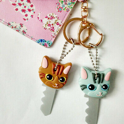 Cute Puppy Pug Cat Bunny Key Ring Chain PVC Key Case Unisex  Key's Cover Cap