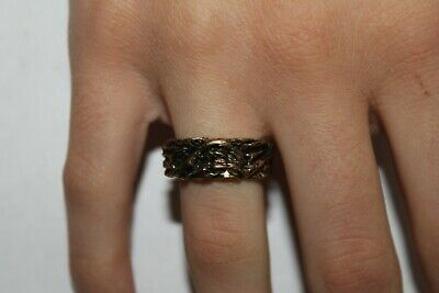 Woman Vintage Fashion Woven Embroidered Design Ring Brass Band Jewelry Women
