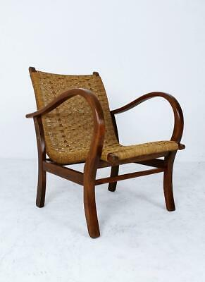 Bauhaus Lounge Armchair Rope and Stained Beech by Erich Dieckmann Germany, 1930s