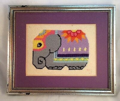 COMPLETED NEEDLEWORK Vtg Elephant Wall Art Picture Circus Carnival Theme Nursery