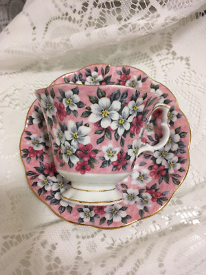 Vintage Royal Albert Pink Surprise Pink Chintz Teacup and Saucer